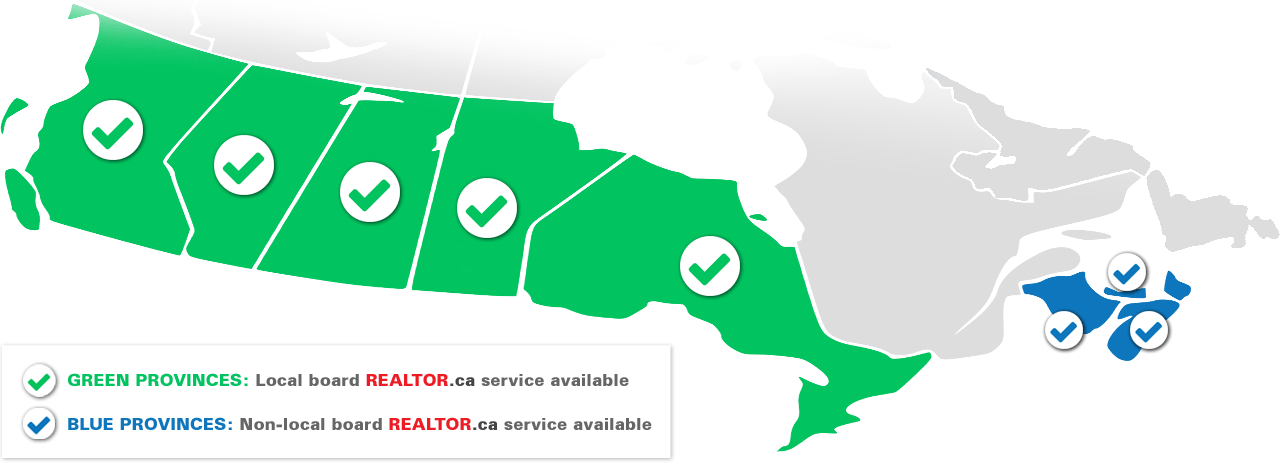 Map of Flat Fee MLS Service Availability in Canada