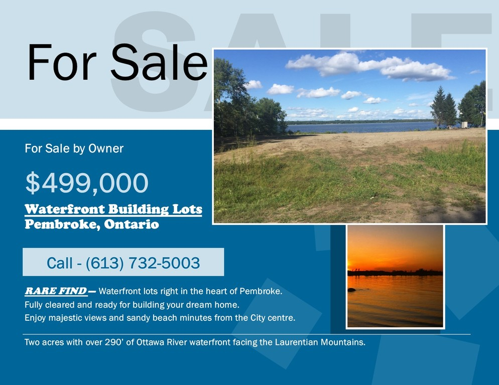 Waterfront Property / Building Lot For Sale in Pembroke, ON