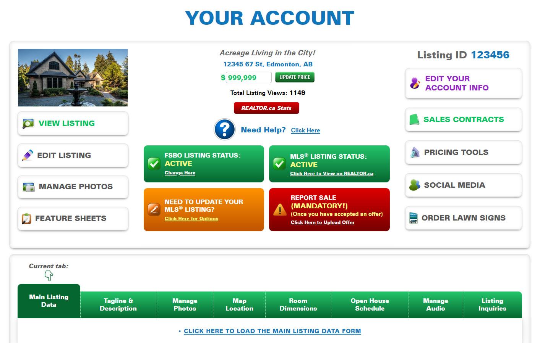 Account Menu Screenshot